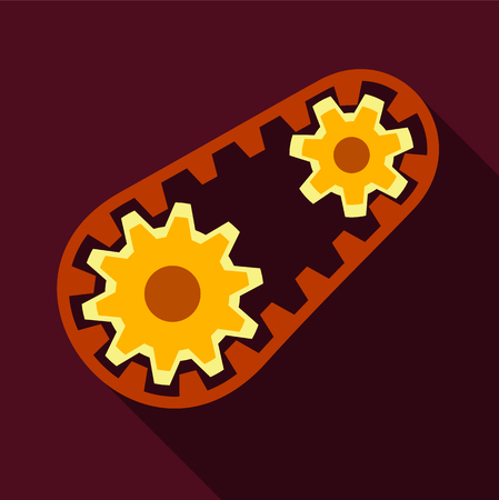 Belt and gear icon, flat style