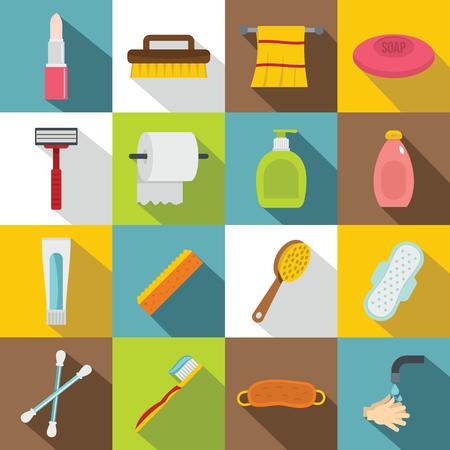 condoms: Hygiene tools icons set, flat style