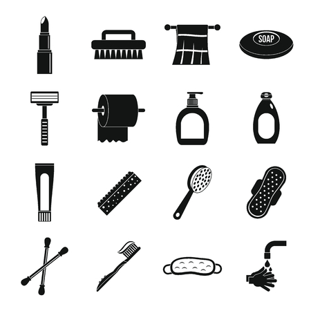 condones: Hygiene tools icons set, simple style