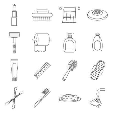 condones: Hygiene tools icons set, outline style