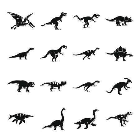 pterodactyl: Dinosaur icons set, simple style