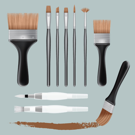 model kit: Brush paint mockup set, realistic style