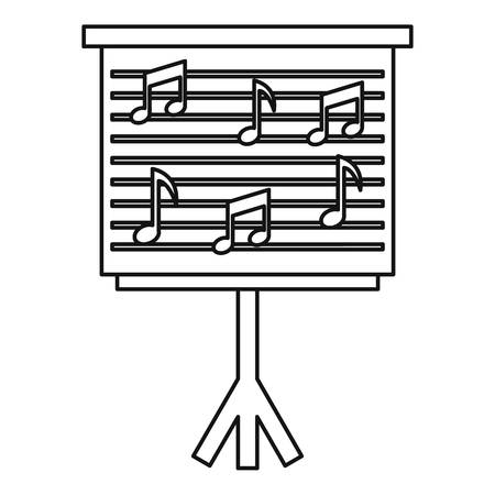 musical score: Musical notes on stand icon. Outline illustration of musical notes on stand vector icon for web
