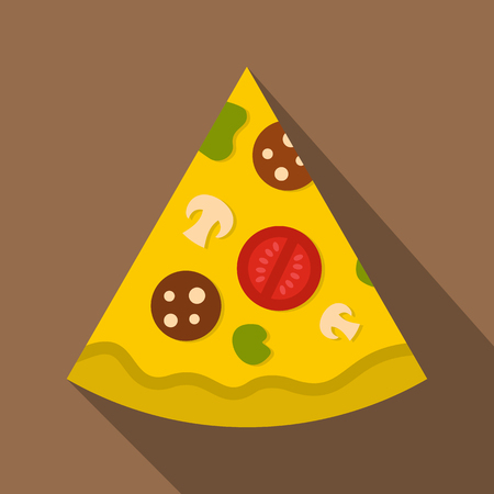Piece of pizza with sausage, tomatoes and mushrooms icon. Flat illustration of piece of pizza with sausage, tomatoes and mushrooms vector icon for web isolated on coffee background Illustration