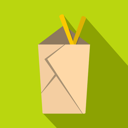 chinese take away container: Chinese take out box with chopsticks inside icon. Flat illustration of chinese take out box with chopsticks inside vector icon for web isolated on lime background