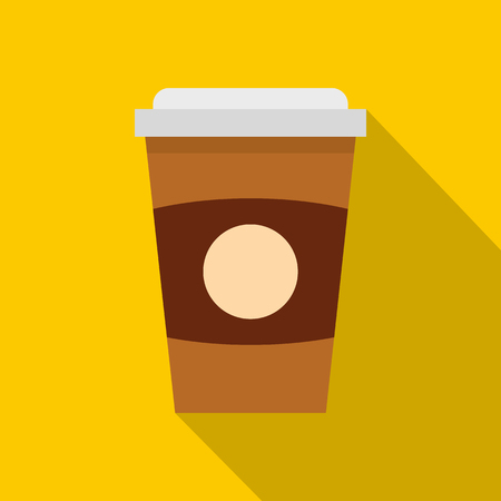 Brown paper coffee cup icon. Flat illustration of brown paper coffee cup vector icon for web isolated on yellow background