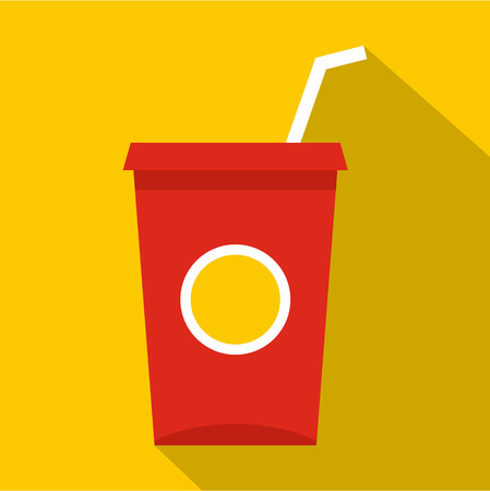 Soft drink in a red paper cup icon, flat style