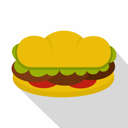 Sandwich with meat patties icon, flat style Illustration