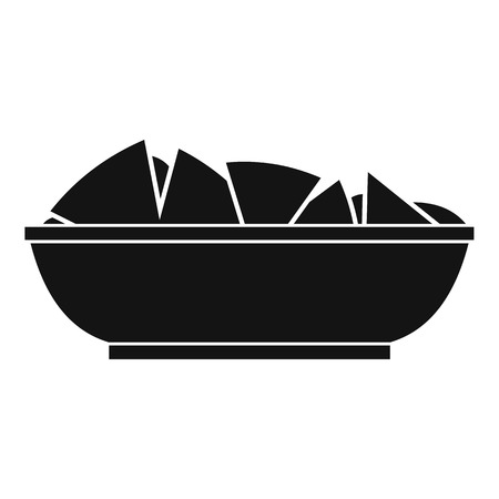 chips and salsa: Nachos in bowl icon. Simple illustration of nachos in bowl vector icon for web