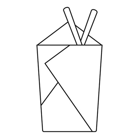 chinese take away container: Noodle box with chopsticks icon, outline style Illustration