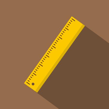 Yellow ruler icon, flat style Illustration
