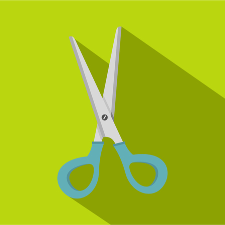 silver hair: Scissors with blue plastic handles icon. Flat illustration of scissors with blue plastic handles vector icon for web isolated on lime background Illustration