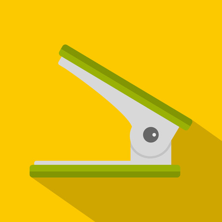 punching: Green office hole punch icon. Flat illustration of green office hole punch vector icon for web isolated on yellow background Illustration