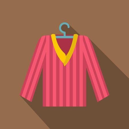 pyjama: Pink striped pajama shirt icon. Flat illustration of pink striped pajama shirt vector icon for web isolated on coffee background