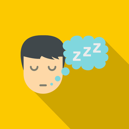 Sleeping person with thought bubble of z icon. Flat illustration of sleeping person with thought bubble of z vector icon for web isolated on yellow background