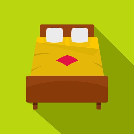 apartment suite: Bed with yellow blanket icon. Flat illustration of bed with yellow blanket vector icon for web isolated on lime background