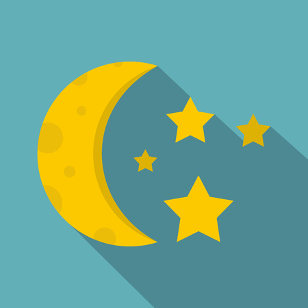 Night sky with stars and moon icon. Flat illustration of night sky with stars and moon vector icon for web isolated on baby blue background