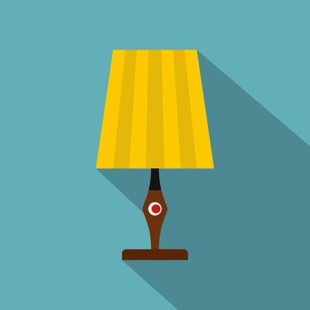 Yellow table lamp icon. Flat illustration of yellow table lamp vector icon for web isolated on baby blue background