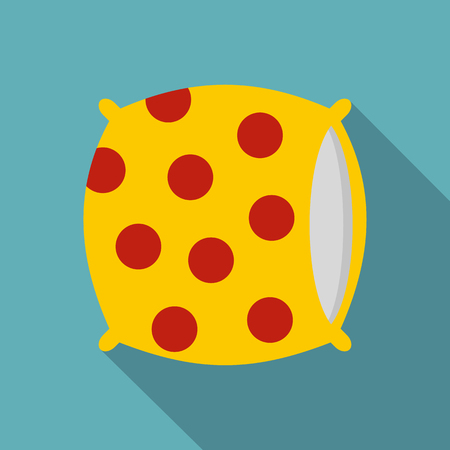 Yellow pillow with red dots icon. Flat illustration of yellow pillow with red dots vector icon for web isolated on baby blue background