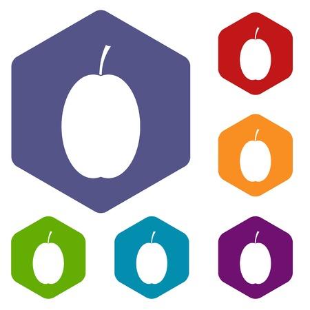prune: Plum icons set Illustration