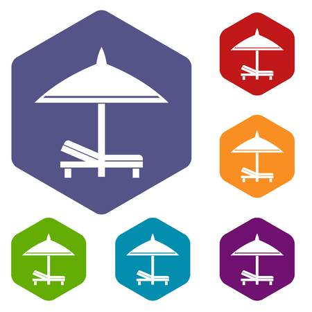 brolly: Bench and umbrella icons set Illustration