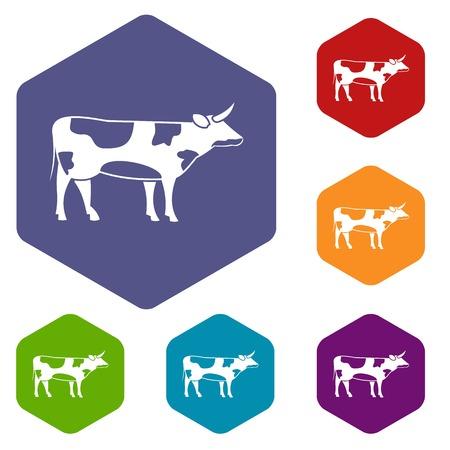 Switzerland cow icons set