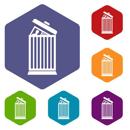 Resume thrown away in the trash can icons set