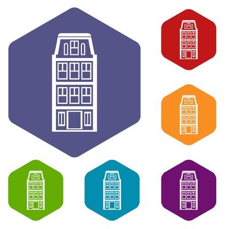 dutch: Dutch houses icons set Illustration