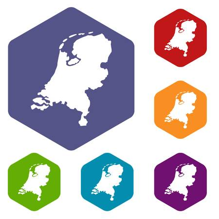 Holland map icons set Stock Illustratie