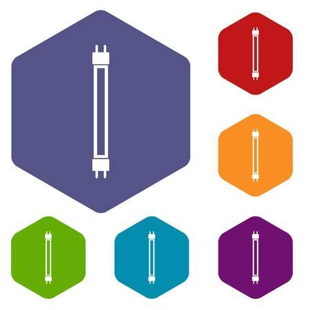 fluorescence: Fluorescence lamp icons set Illustration