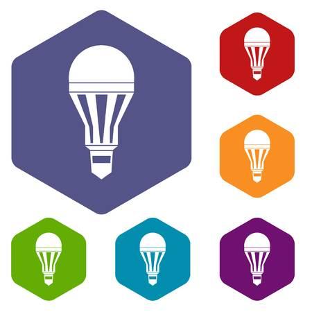 Led bulb icons set Illustration