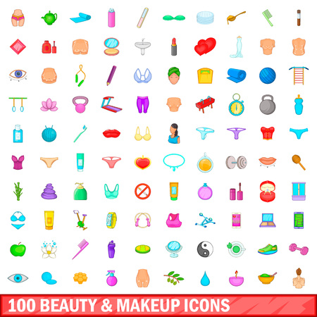 100 beauty and makeup icons set, cartoon style Illustration