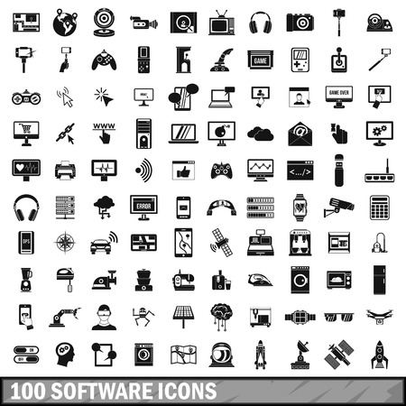100 software icons set in simple style Vector Illustration