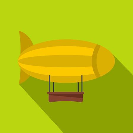 blimp: Yellow airship icon, flat style Illustration