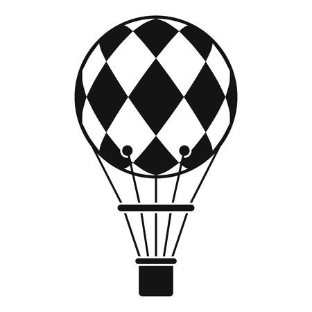 Checkered air balloon icon, simple style