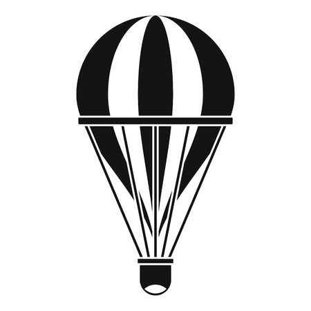 Hot air striped balloon icon, simple style