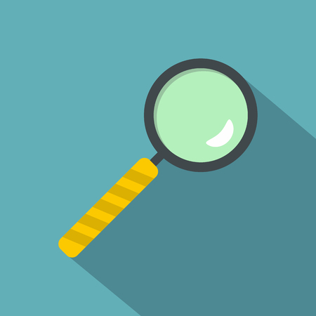 Magnifier icon, flat style Illustration