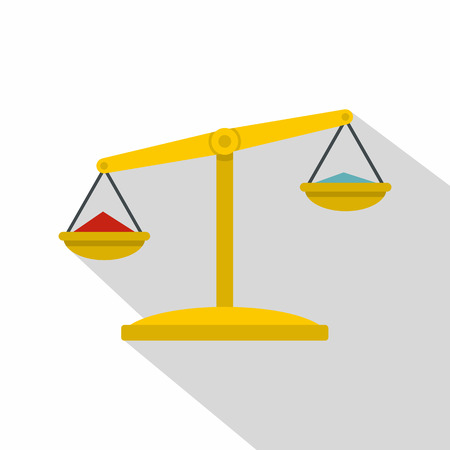 Justice scales icon, flat style Illustration