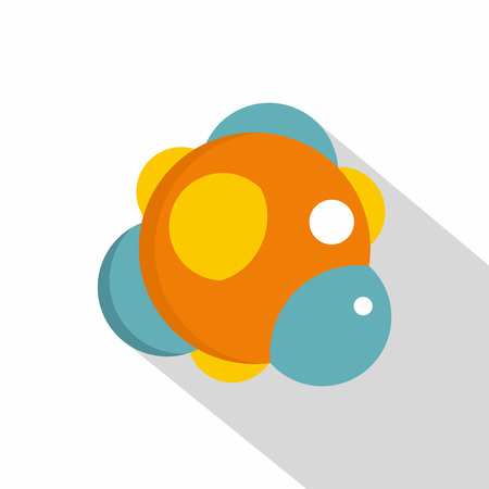 Group of atoms forming molecule icon, flat style