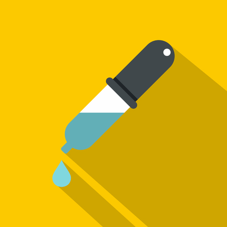 Dropper with droplet icon, flat style