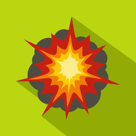 bombe atomique: Icône d'explosion de feu, style plat