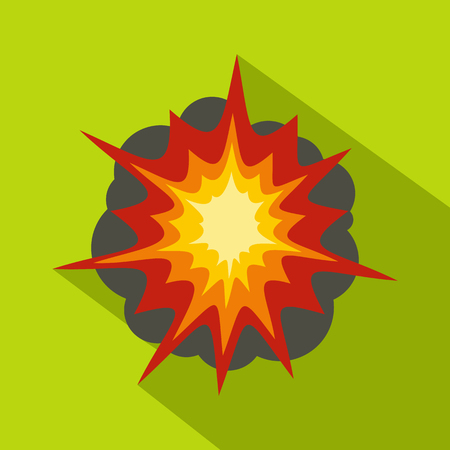 Fire explosion icon, flat style