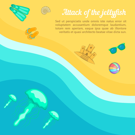 Sea rest concept beach jellyfish, cartoon style