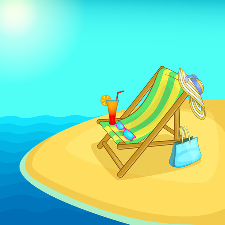 Sea rest concept lounge cartoon style