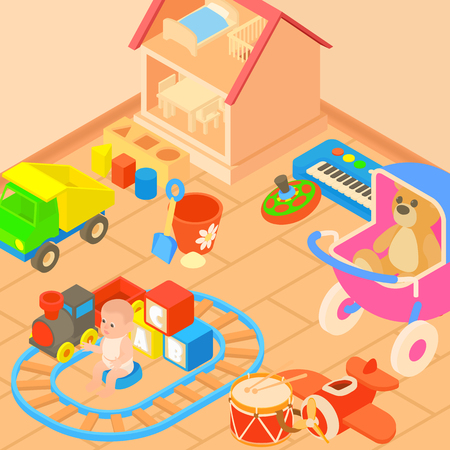 Toys room concept, cartoon style Illustration