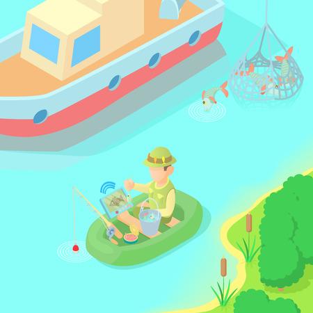 Fishing concept, cartoon style Ilustração