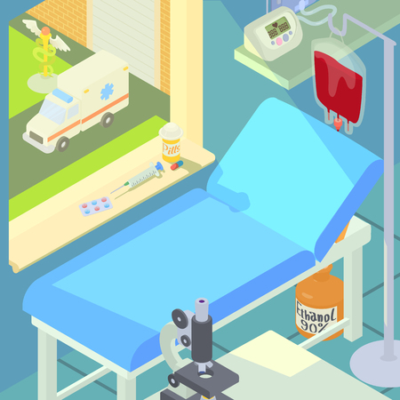 tooling: Hospital medical chamber concept, cartoon style
