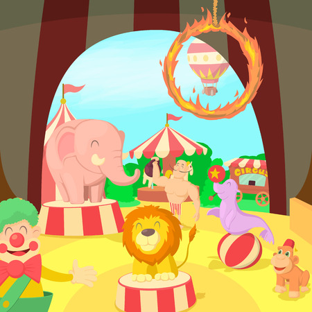 Circus concept scene, cartoon style