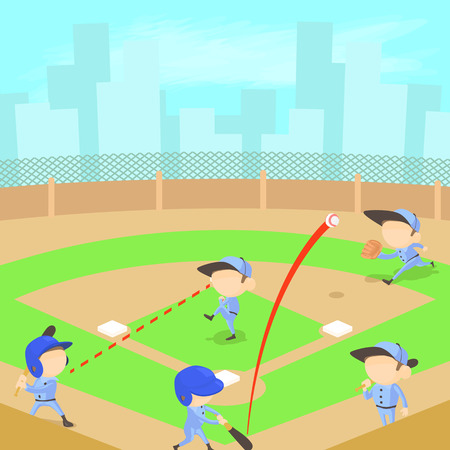 Baseball concept, cartoon style Illustration