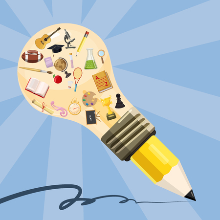 Education concept lamp pencil, cartoon style